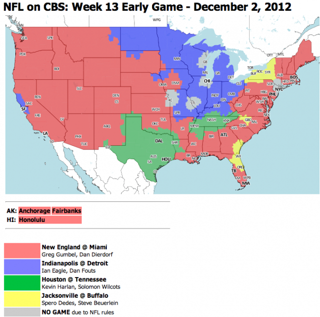 NFL TV Schedule Week 13: Coverage Maps For CBS And FOX