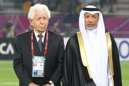 DOHA, QATAR - JANUARY 29: Football Federation Australia Chairman Frank Lowy and AFC President Mohamed Bin Hamman are seen prior to the AFC Asian Cup Final match between the Australian Socceroos and Japan at Khalifa International Stadium on January 29, 201