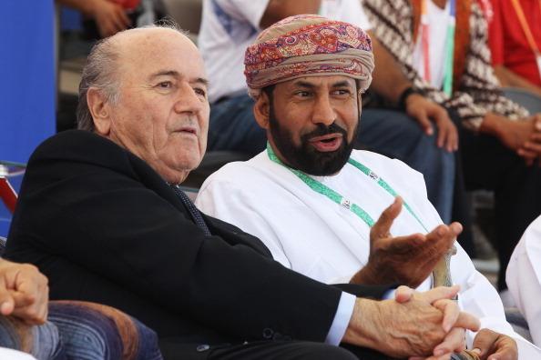 MUSCAT, OMAN - DECEMBER 09: FIFA President Joseph Sepp Blatter watches the Uzbekistan and Qatar Beach Soccer with Shaikh Rashid bin Ahmed al Hinai OCCI Board member at Al-Musannah Sports City during day two of the 2nd Asian Beach Games Muscat 2010 on Dec