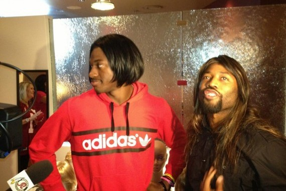 Robert Griffin III and Josh Wilson Sport Wigs for Breast Cancer Survivors