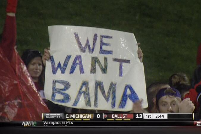 Ball State Fan Brings 'We Want Bama' Sign to Game Against Central Michigan