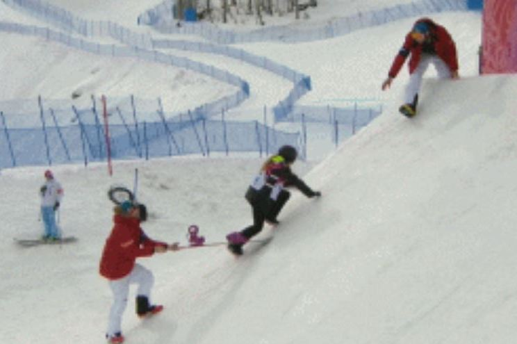 Austrian Snowboarder Anna Gasser Struggles to Get Back Up Slope