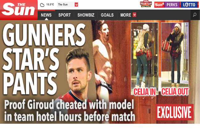 Giroud once cheated his wife, Source: The Sun