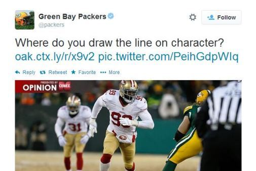 Packers Bring 49ers' Aldon Smith's Character into Question with Strange Tweet