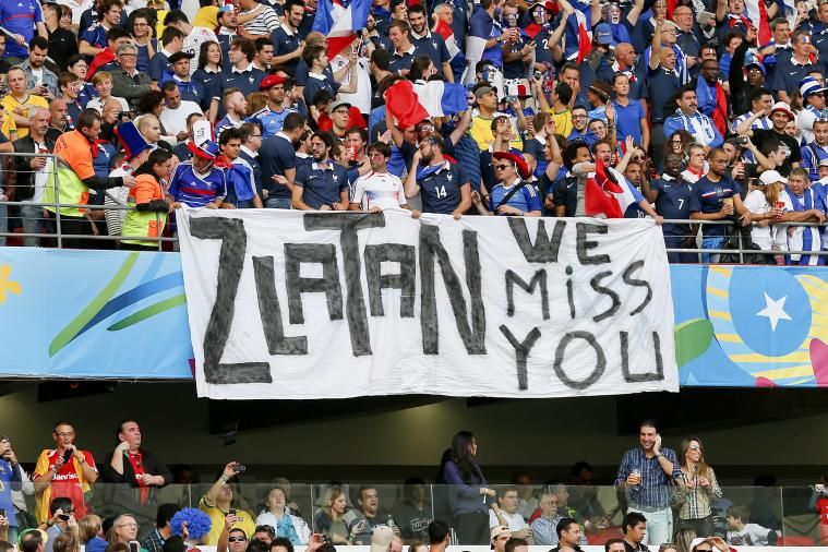 France Fans Produce 'Zlatan We Miss You Banner' for Ibrahimovic at World Cup