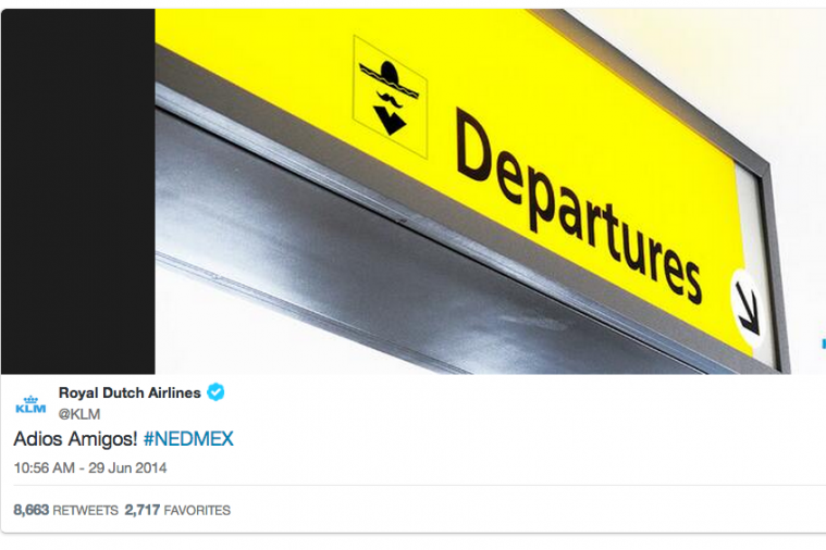 Dutch Airline KLM Troll Mexico After World Cup Comeback Win for Netherlands