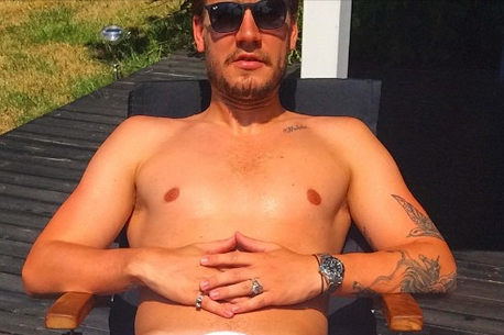 Nicklas Bendtner Instagrams Nearly Naked Selfie with Only Bra Covering Himself