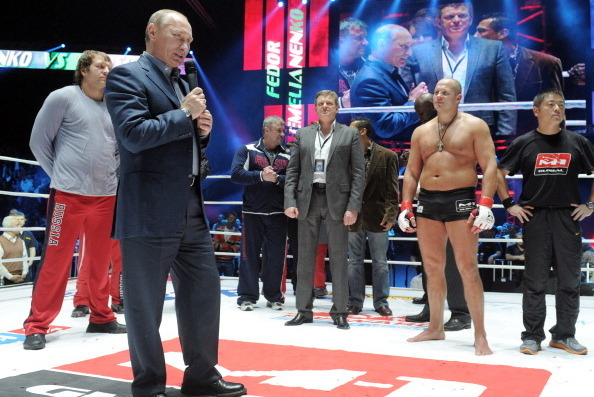 Vladimir Putin addresses the crowd after Fedor's win over Jeff Monson in 2011.