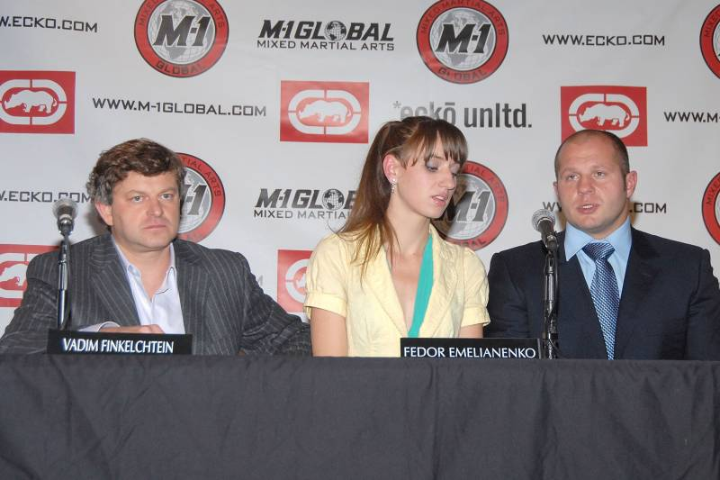 Vadim Finkelchtein and Fedor, along with a translator, at the press conference announcing Fedor's signing with M-1 Global in 2007.