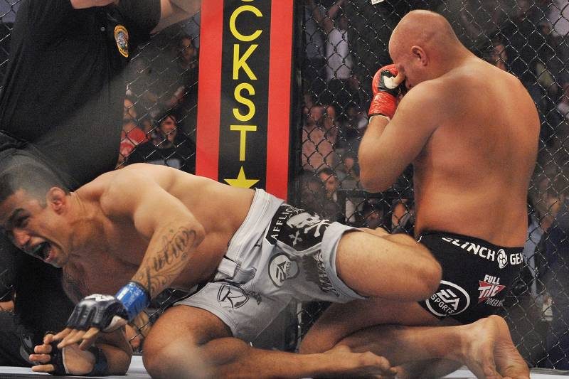 Fabricio Werdum reacts after Fedor tapped out in their fight on June 26, 2010, in San Jose, California.