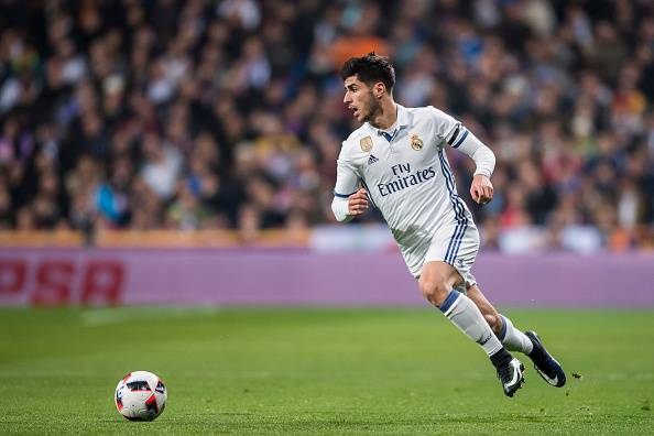 MADRID, SPAIN - JANUARY 04: Marco Asensio Willemsen of Real Madrid in action during their Copa del Rey Round of 16 match between Real Madrid and Sevilla FC at the Santiago Bernabeu Stadium on 04 January 2017 in Madrid, Spain. (Photo by Power Sport Images/
