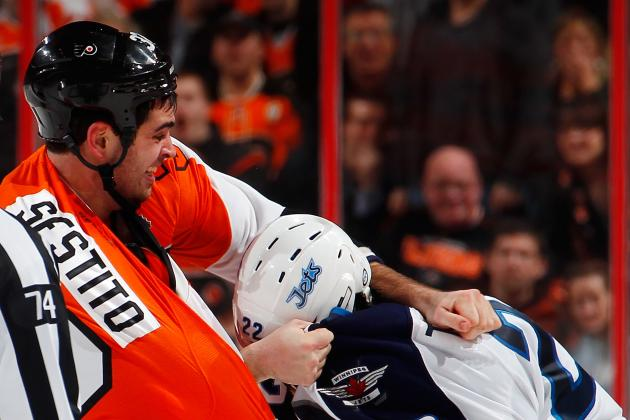 Tom Sestito of Philadelphia Flyers Fighting to Keep His Spot