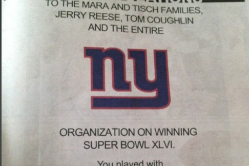 Jets Congratulate Giants on Super Bowl Victory in New York Daily News Ad