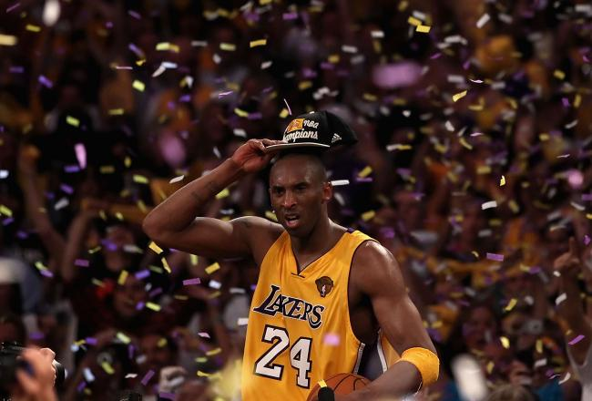 Kobe Bryant celebrates the game seven victory over the Celtics in 2010.