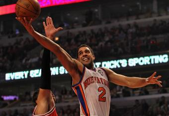 Landry Fields absorbed a hard foul trying to convert a fast break opportunity.
