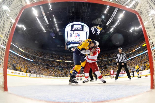 Todd Bertuzzi Fighting Shea Weber Gives Detroit Red Wings the Edge in Game 3