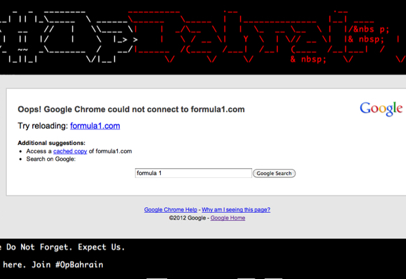 BREAKING: Anonymous Takes Down Formula 1 Website with DDOS Attack