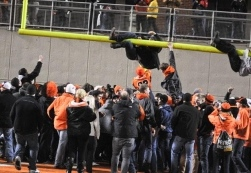 OSU Football Team Members Get Goal Post Fragments