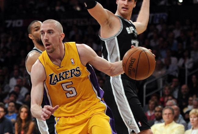 Steve Blake was on fire in the first quarter hitting three of four three point shots.