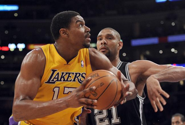 Andrew Bynum has eight rebounds and four blocks before the half.