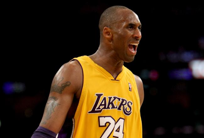 Kobe Bryant has been frustrated by Denver's defense today but his team is winning by ten at the half.