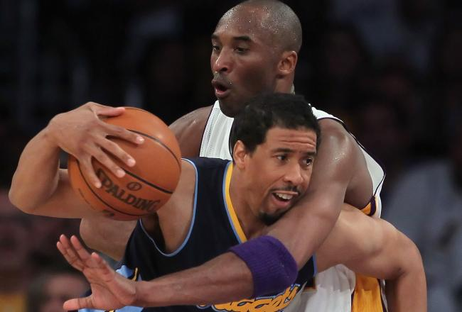 Kobe Bryant and the Lakers have struggled to contain Andre Miller today.