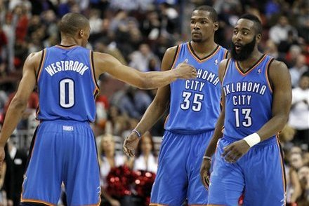2012 NBA Playoffs: Is There a Better Trio Than Westbrook, Harden and Durant?
