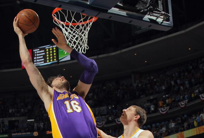 Pau Gasol has been scoring in the low post for the Lakers.