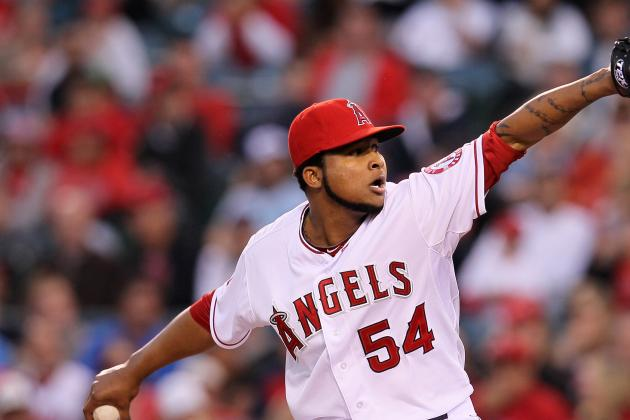 Santana gets 1st win with aid from Angels' bats