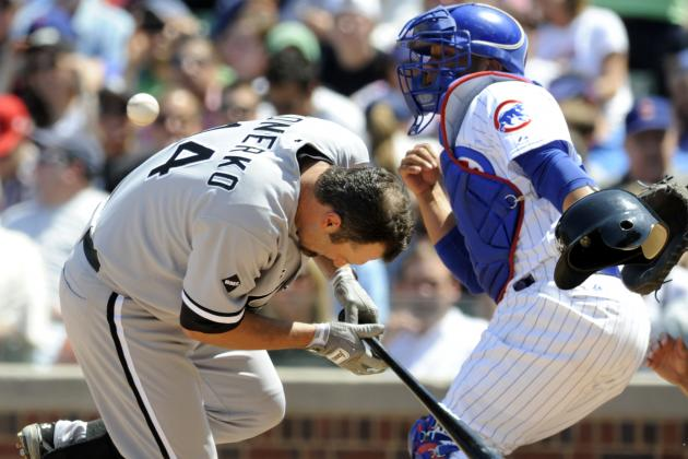 Chicago White Sox's Paul Konerko Hit in Face with Pitch Against Chicago Cubs