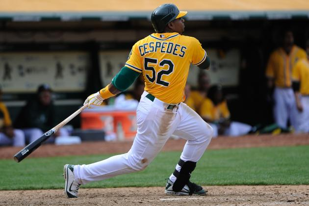 Oakland A's: Yoenis Cespedes Singles and Plays Left Field in First Rehab Game