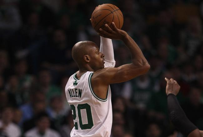 A Ray Allen three point shot gave Boston back the lead.
