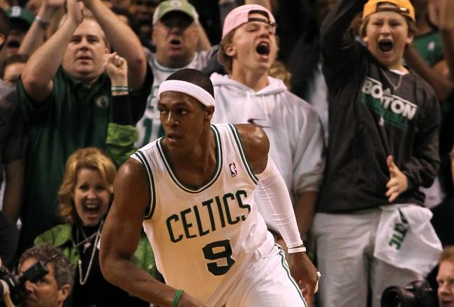 Rajon Rondo hit one of two free throws to help ice the game for Boston.