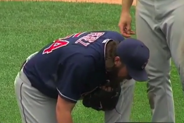 Cleveland Indians' Closer Chris Perez Vomits on Field After Save