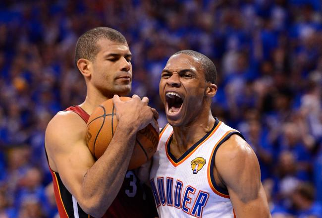 Russell Westbrook and Shane Battier are facing off in tonight's game.
