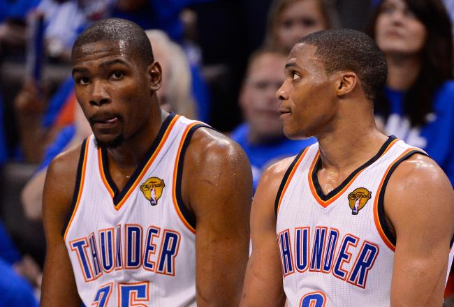 Kevin Durant and Russell Westbrook combined for 63 points in a Game 1 win.