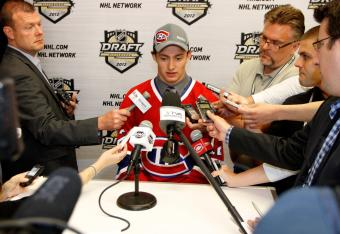 Tim Bozon, answering questions after being drafted by the Canadiens.