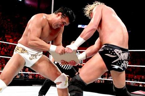 Dolph Ziggler and Alberto Del Rio in the Bumbling Contract Match