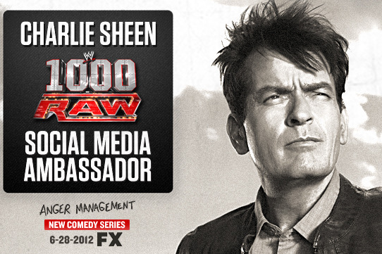 WWE Monday Night Raw: Charlie Sheen Announced as Raw Social Media Ambassador