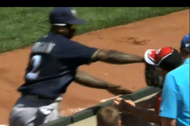 Nyjer Morgan shoves fan in Cincinnati after battling for foul ball (Video)