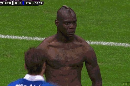 MARIO BALOTELLI FLEXIN' ON GERMANY IN THE FIRST HALF