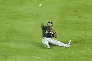 A's Turn Two on Fly Ball to Center Field
