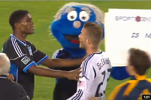 WATCH: Beckham Takes on Opponents, Mascot