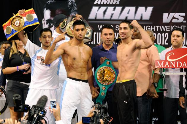 Khan vs. Garcia Weigh-in Results: Both Fighters Make Weight for Title Bout