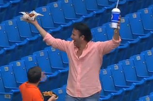 Fan Stops Foul Ball with legs