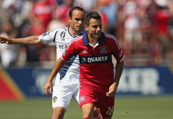 Landon Donovan (left) earned his 100th assist on Saturday against the Portland Timbers in their 5-3 victory.