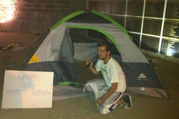 Students are camping out overnight to protect the Joe Pa statue...