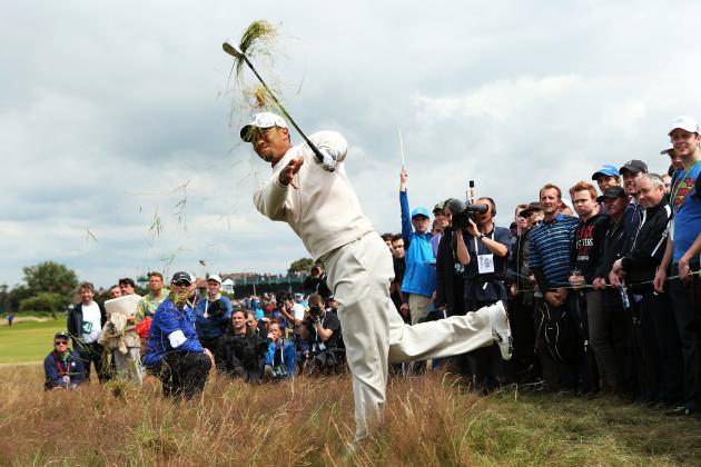 British Open 2012: Tiger Woods Posts 67, Trails Adam Scott After Morning Round
