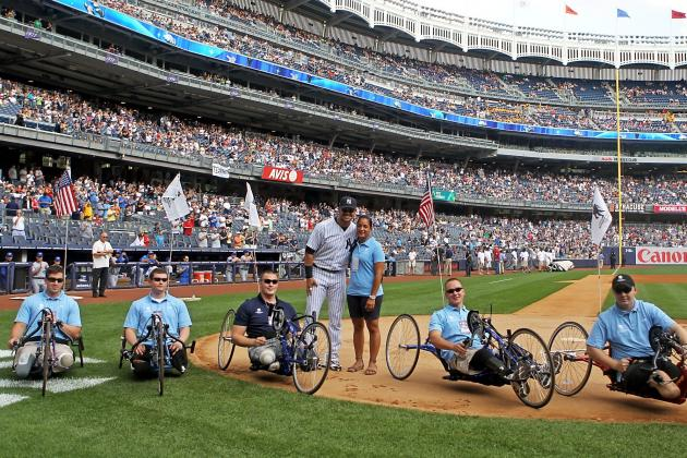 New York Yankees: Nick Swisher Greets Wounded Warriors in Bronx