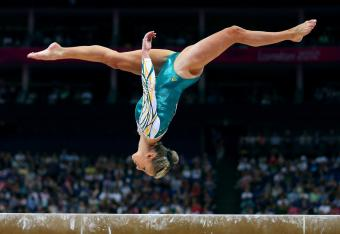 Ashleigh Brennan points her head toward her Australian home. She's likely to make the all-around final.